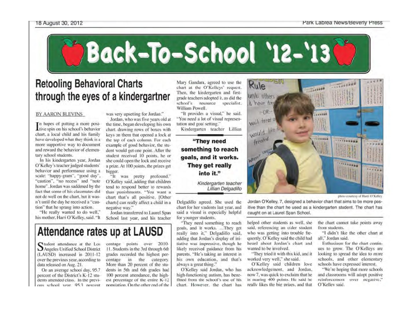 Article from the Beverly Press on Jordan's Key's to Reward Behavior Chart